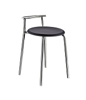 Smedbo FK411 Outline Bathroom Stool Black Seat, Polished Stainless Steel