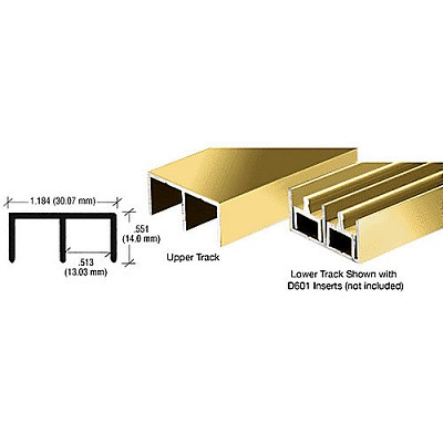 CRL D603BGA Standard Upper or Lower Channel, Brite Gold Anodized