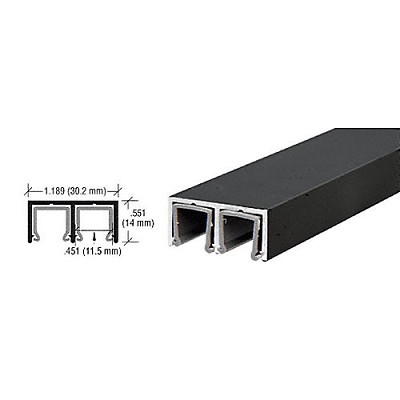 CRL D609BL Plastic Lined Double Upper Channel, Flat Black