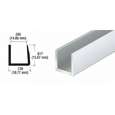 CRL D621BA Single U-Channel, Brite Anodized