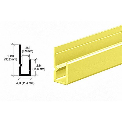 "CRL D651BGA Deep Nose Heavy Indented Back 1/4"" J-Channel, Brite Gold Anodized"