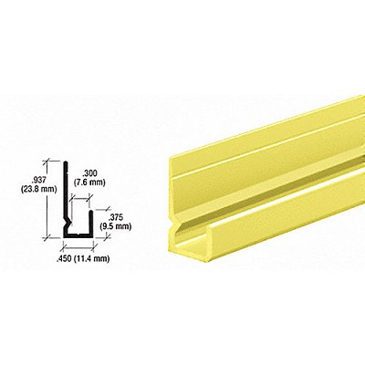 "CRL D657BGA Standard Heavy Indented Back 1/4"" J-Channel, Brite Gold Anodized"