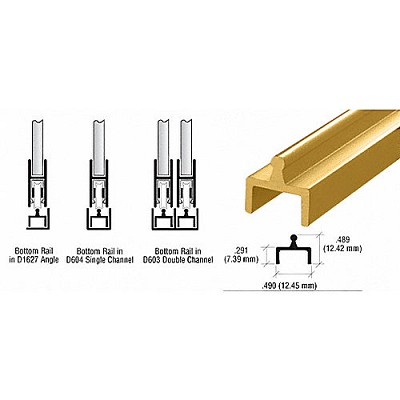 CRL D601GA Single Bottom Rail, Gold Anodized
