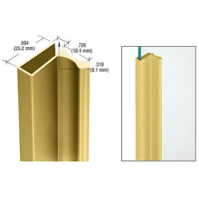 "CRL D639GA Extruded for Showcase Finger Pull with 1"" Lip, Gold Anodized"