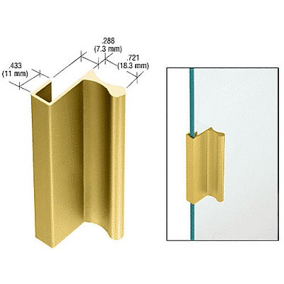 "CRL D640GA Extrusion 12' for Showcase and Cabinet Finger Pull with 7/16"" Lip, Gold Anodized"