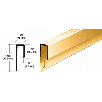 "CRL D645DBGADipped Brite Gold Anodized 1/4"" Deep Nose J Channel"