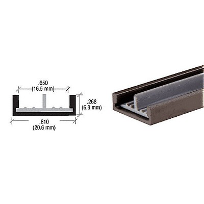 "CRL D590DULower Track with Plastic Insert for 1/4"" Panels"