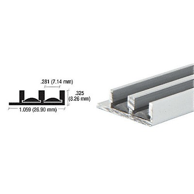 "CRL D593A Lower Track with Fiber Inserts for 1/4"" Panels"