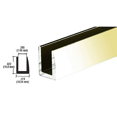 "CRL D622BGA Single Channel with 5/8"" Wall, Brite Gold Anodized"