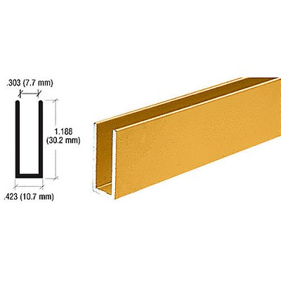 CRL D626BGA Channel Extrusion, Brite Gold Anodized