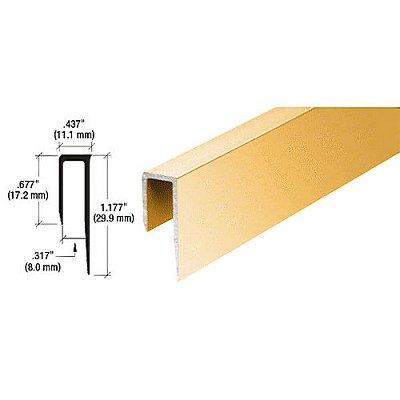 "CRL D58BGA Deep Nose 5/16"" J Channel, Brite Gold Anodized"