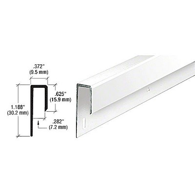"CRL D645W Electro-Static Paint 1/4"" Deep Nose J Channel, White"