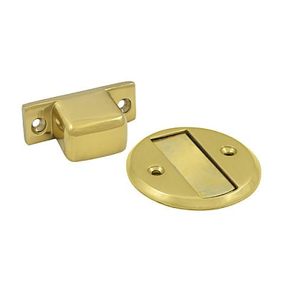 "Deltana MDHF25U3 Magnetic Door Holder Flush 2-1/2"" Diameter, Polished Brass (Each)"
