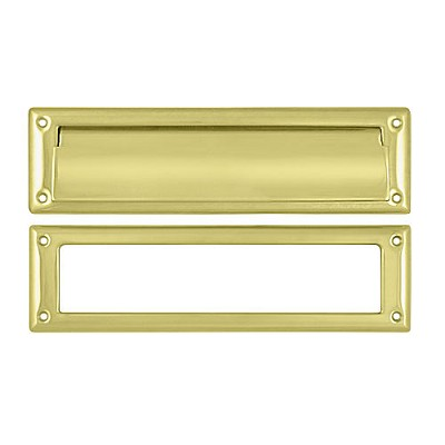 "Deltana MS211U3 Mail Slot 13-1/8"" with Interior Frame, Polished Brass (Each)"