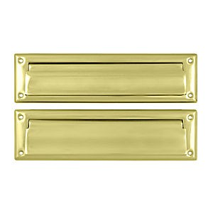 "Deltana MS212U3 Mail Slot 13-1/8"" with Interior Flap, Polished Brass (Each)"
