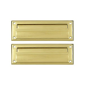 Deltana MS627U3 Mail Slot 8-7/8' with Back Plate, Polished Brass (Each)