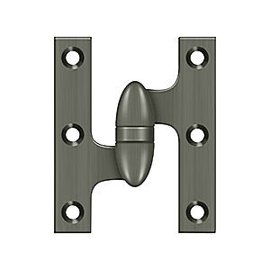 "Deltana OK3025B15A-L Hinge 3"" x 2-1/2"", Antique Nickel LH (Each)"