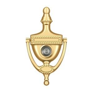 Deltana dkv6rcr003 door knocker viewer rope 6 pvd polished brass - Brass door knocker with viewer ...