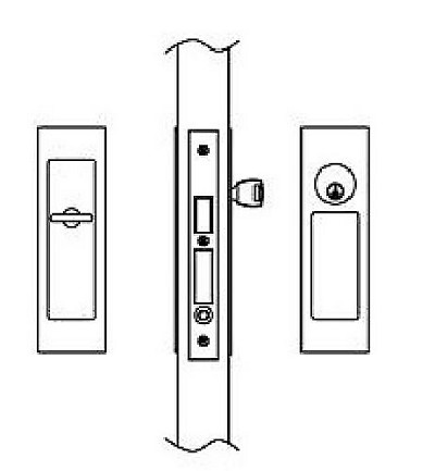 Hafele 911.26.803 Sliding/Pocket Door Lock, Entry With Single Cylinder, Each