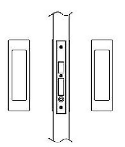 Hafele 911.26.783 Sliding/Pocket Door Lock, Passage With Lockcase As Dust Proof Strike, Each