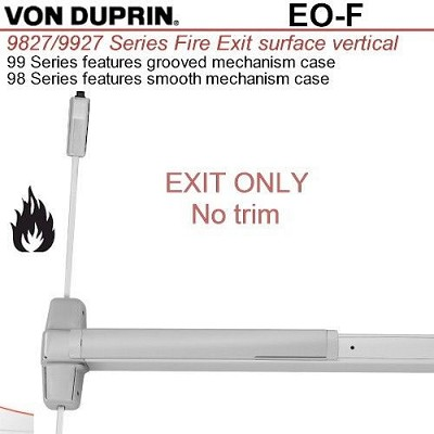 Von duprin 9927eo f 99 series svr exit device 36 bright for Von duprin 99 template
