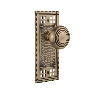 Nostalgic Warehouse 707431 Craftsman Plate Single Dummy Deco Door Knob, Antique Brass