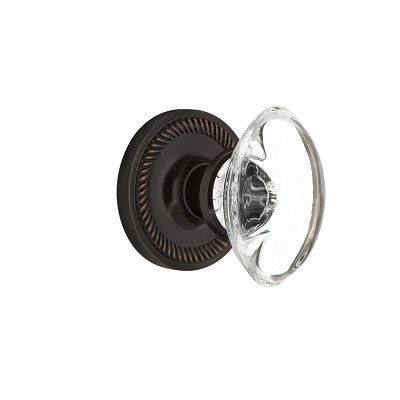 Nostalgic Warehouse 707948 Rope Rosette Single Dummy Oval Clear Crystal Glass Door Knob, Timeless Bronze