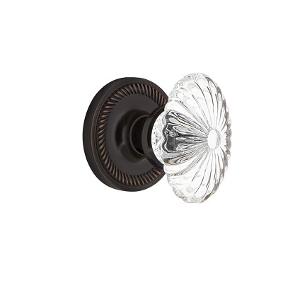 Nostalgic Warehouse 707949 Rope Rosette Single Dummy Oval Fluted Crystal Glass Door Knob, Timeless Bronze