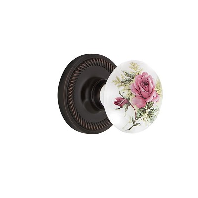 Nostalgic Warehouse 707951 Rope Rosette Single Dummy White Rose Porcelain Door Knob, Timeless Bronze