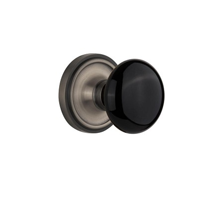 Nostalgic Warehouse 710097 Classic Rosette Single Dummy Black Porcelain Door Knob, Antique Pewter